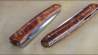 Couteau de type liner lock. Lame RWL34– plaquettes en loupe d'Amboine– platines titane – guillochage sur intercalaire O1. Longueur de lame : 9cm. Longueur totale : 19,7cm.