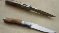 Couteau pliant de type liner lock. Lame inoxydable 14c28n – mitres – plaquettes loupe de buis stabilisée – platines titane – guillochage Longueur de lame : 90 mm. Longueur totale […]